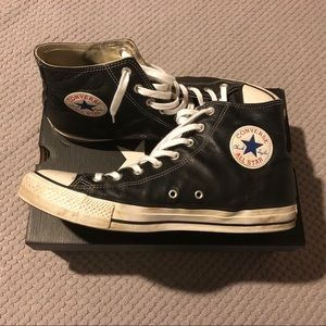 Classic Black Leather High Top Converse Chucks